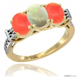 10K Yellow Gold Natural Opal & Coral Sides Ring 3-Stone Oval 7x5 mm Diamond Accent