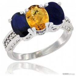 14K White Gold Natural Blue Sapphire, Whisky Quartz & Lapis Ring 3-Stone 7x5 mm Oval Diamond Accent