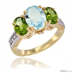 14K Yellow Gold Ladies 3-Stone Oval Natural Aquamarine Ring with Peridot Sides Diamond Accent