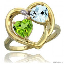 14k Yellow Gold 2-Stone Heart Ring 6mm Natural Peridot & Aquamarine Diamond Accent