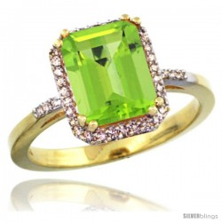 14k Yellow Gold Diamond Peridott Ring 2.53 ct Emerald Shape 9x7 mm, 1/2 in wide