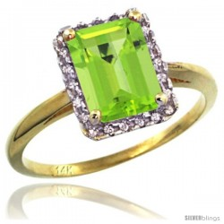 14k Yellow Gold Diamond Peridot Ring 1.6 ct Emerald Shape 8x6 mm, 1/2 in wide