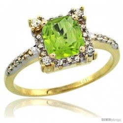 14k Yellow Gold Diamond Halo Peridot Ring 1.2 ct Checkerboard Cut Cushion 6 mm, 11/32 in wide