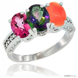 14K White Gold Natural Pink Topaz, Mystic Topaz & Coral Ring 3-Stone 7x5 mm Oval Diamond Accent