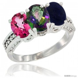 14K White Gold Natural Pink Topaz, Mystic Topaz & Lapis Ring 3-Stone 7x5 mm Oval Diamond Accent