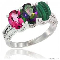 14K White Gold Natural Pink Topaz, Mystic Topaz & Malachite Ring 3-Stone 7x5 mm Oval Diamond Accent