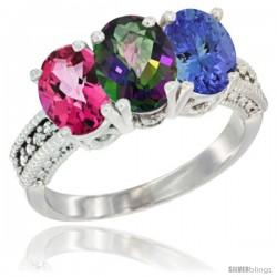 14K White Gold Natural Pink Topaz, Mystic Topaz & Tanzanite Ring 3-Stone 7x5 mm Oval Diamond Accent