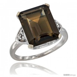 10K White Gold Natural Smoky Topaz Ring Emerald-shape 12x10 Stone Diamond Accent