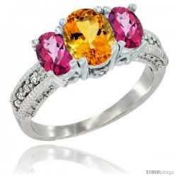 14k White Gold Ladies Oval Natural Citrine 3-Stone Ring with Pink Topaz Sides Diamond Accent