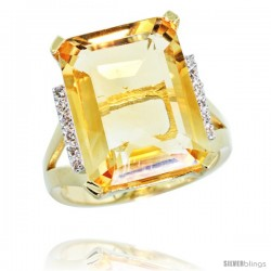 10k Yellow Gold Diamond Citrine Ring 12 ct Emerald Cut 16x12 stone 3/4 in wide