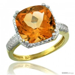10k Yellow Gold Diamond Citrine Ring 5.94 ct Checkerboard Cushion 11 mm Stone 1/2 in wide