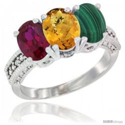 10K White Gold Natural Ruby, Whisky Quartz & Malachite Ring 3-Stone Oval 7x5 mm Diamond Accent