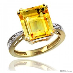 10k Yellow Gold Diamond Citrine Ring 5.83 ct Emerald Shape 12x10 Stone 1/2 in wide -Style Cy909149