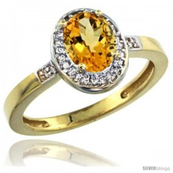 10k Yellow Gold Diamond Citrine Ring 1 ct 7x5 Stone 1/2 in wide