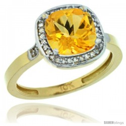 10k Yellow Gold Diamond Citrine Ring 2.08 ct Checkerboard Cushion 8mm Stone 1/2.08 in wide