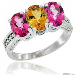14K White Gold Natural Citrine & Pink Topaz Sides Ring 3-Stone 7x5 mm Oval Diamond Accent