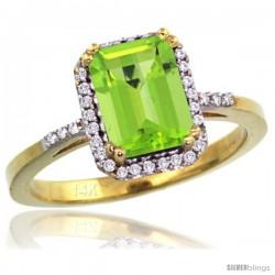 14k Yellow Gold Diamond Peridot Ring 1.6 ct Emerald Shape 8x6 mm, 1/2 in wide -Style Cy411129