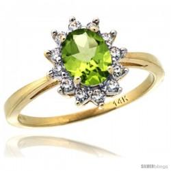14k Yellow Gold Diamond Halo Peridot Ring 0.85 ct Oval Stone 7x5 mm, 1/2 in wide