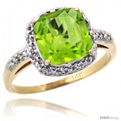 14k Yellow Gold Diamond Peridot Ring 2.08 ct Cushion cut 8 mm Stone 1/2 in wide