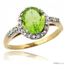 14k Yellow Gold Diamond Peridot Ring Oval Stone 8x6 mm 1.17 ct 3/8 in wide