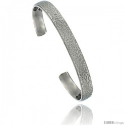 Titanium Flat Cuff Bangle Bracelet Hammered Polish finish Comfort-fit, 8 in long 8 mm 5/16 in wide