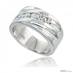 Gent's Perfect Quality Sterling Silver Brilliant Cut Cubic Zirconia Ring -Style Rcz528