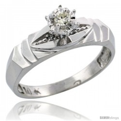 10k White Gold Diamond Engagement Ring, 3/16 in wide -Style Ljw121er