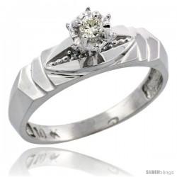 10k White Gold Diamond Engagement Ring, 3/16 in wide -Style Ljw121er