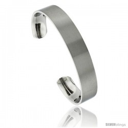Titanium Flat Cuff Bangle Bracelet Matte finish Comfort-fit, 8 in long 12 mm 1/2 in wide