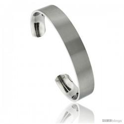 Titanium Flat Cuff Bangle Bracelet Matte finish Comfort-fit, 8 in long 12 mm 1/2 in wide
