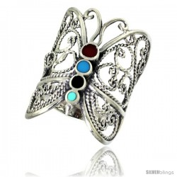 Sterling Silver Filigree Butterfly Ring Multi Color Stone Inlay 1 in wide
