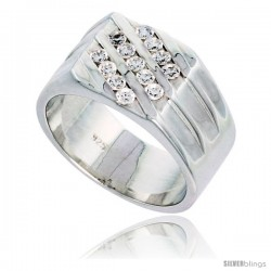 Gent's Perfect Quality Sterling Silver Brilliant Cut Cubic Zirconia Ring -Style Rcz529