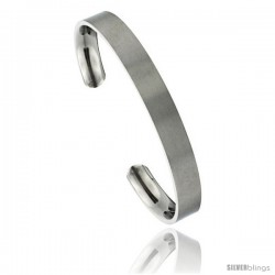 Titanium Flat Cuff Bangle Bracelet Gold Dot Ends Matte finish Comfort-fit, 8 in long 8 mm 5/16 in wide