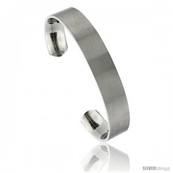 Titanium Flat Cuff Bangle Bracelet Gold Dot Ends Matte finish Comfort-fit, 8 in long 12 mm 1/2 in wide