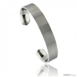Titanium Flat Cuff Bangle Bracelet Gold Dot Ends Matte finish Comfort-fit, 8 in long 12 mm 1/2 in wide