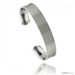 Titanium Concaved Cuff Bangle Bracelet Matte finish Comfort-fit, 8 in long 12 mm 1/2 in wide