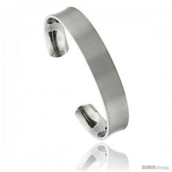 Titanium Concaved Cuff Bangle Bracelet Matte finish Comfort-fit, 8 in long 12 mm 1/2 in wide