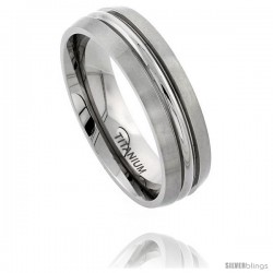 Titanium 7mm Wedding Band Ring Polished Convexed Groove Matte Edges Comfort-fit
