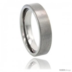 Titanium 6mm Wedding Band Ring Beveled Polished Edges Matte finish Comfort-fit