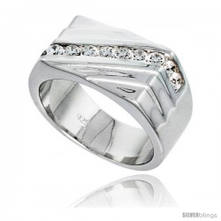 Gent's Perfect Quality Sterling Silver Brilliant Cut Cubic Zirconia Ring -Style Rcz530