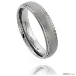 Titanium 6mm Domed Wedding Band Ring Matte Finish recessed Edges Comfort-fit
