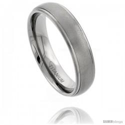 Titanium 6mm Domed Wedding Band Ring Matte Finish recessed Edges Comfort-fit