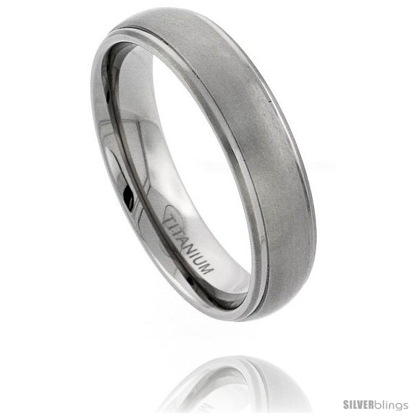 Titanium 6mm Flat Wedding Band Ring Matte Finish one Polished Grooved Squared Edge Comfort-fit, sizes N to Z+3