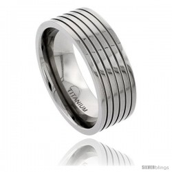Titanium 9mm Flat Wedding Band Ring Polished finish 5 Stripes Comfort-fit