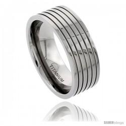 Titanium 9mm Flat Wedding Band Ring Polished finish 5 Stripes Comfort-fit
