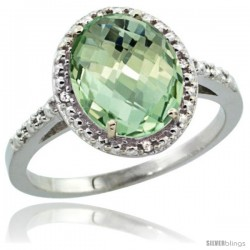 10k White Gold Diamond Green-Amethyst Ring 2.4 ct Oval Stone 10x8 mm, 1/2 in wide -Style Cw902111