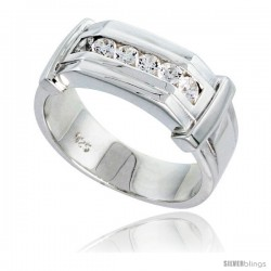 Gent's Perfect Quality Sterling Silver Brilliant Cut Cubic Zirconia Ring -Style Rcz531