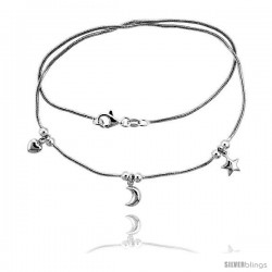 Sterling Silver Necklace / Bracelet with Heart, Moon Star Pendants