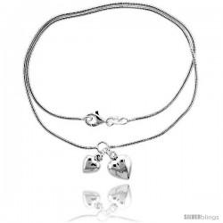 Sterling Silver Necklace / Bracelet with 2 Heart Pendants