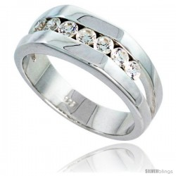 Gent's Perfect Quality Sterling Silver Brilliant Cut Cubic Zirconia Ring -Style Rcz532
